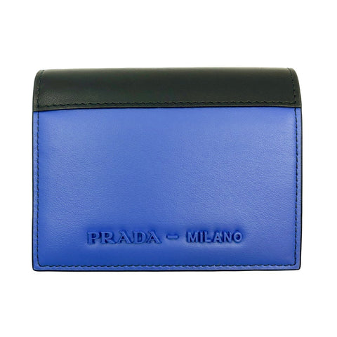 Prada Mens Blue Black City Calf Milano Snap Logo Emblem Multicolor Wallet 1MV204 at_Queen_Bee_of_Beverly_Hills