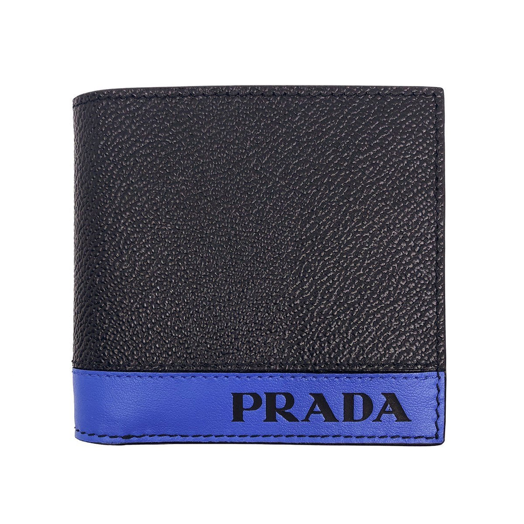 Prada Mens Leather Grain Bi Color Black and Blue Bifold Wallet 2mo912 at_Queen_Bee_of_Beverly_Hills