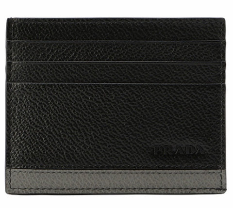 Prada Mens Leather Vitello Micro Grain Card Holder Black with Gray 2MC223 at_Queen_Bee_of_Beverly_Hills