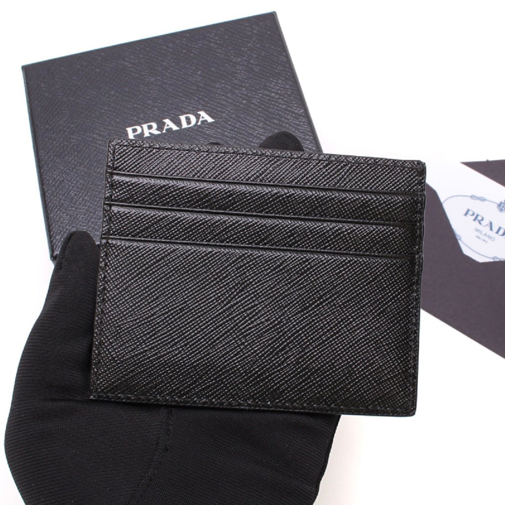 Prada Mens Saffiano Nero Black Card holder Embossed Logo 2MC223 at_Queen_Bee_of_Beverly_Hills