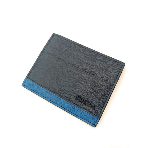 Prada Mens Vitello Micro Grain Bicolor Navy Card Holder 2MC223 at_Queen_Bee_of_Beverly_Hills
