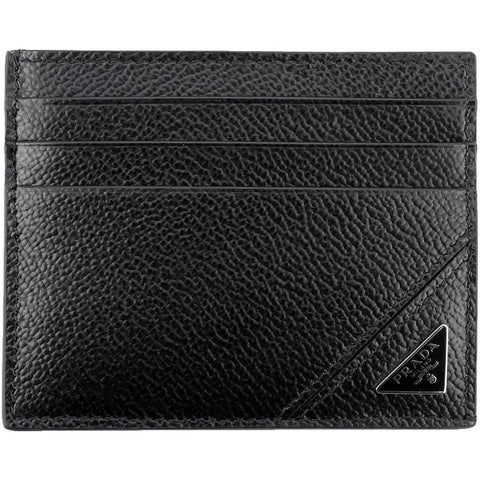Prada Mens Vitello Micro Grain Black Triangle Logo Card Case 2MC223 at_Queen_Bee_of_Beverly_Hills