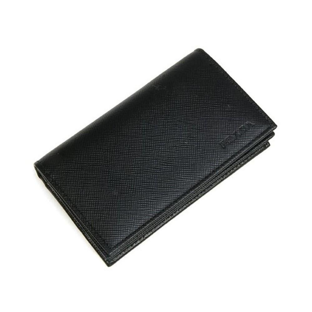 Prada Mens Vitello Micro Grain Flap Card Holder Wallet Black 2MC122 at_Queen_Bee_of_Beverly_Hills