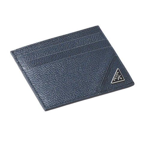 Prada Mens Vitello Micro Grain Navy Card holder Traingle Logo 2MC223 at_Queen_Bee_of_Beverly_Hills