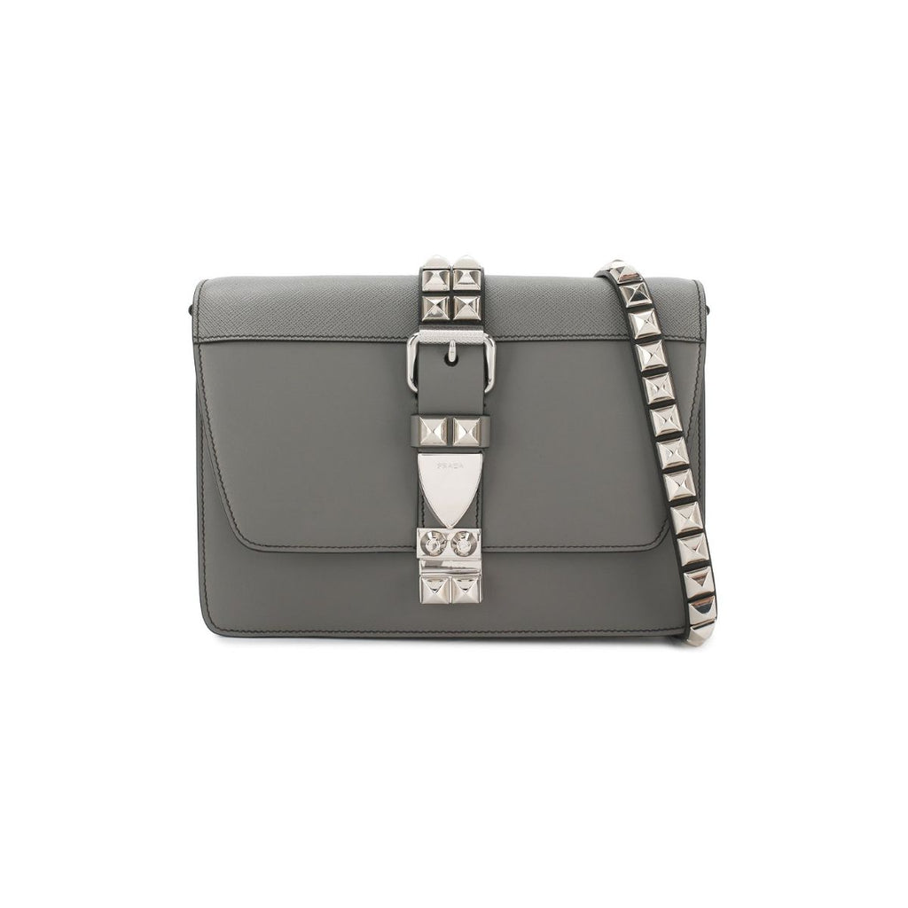 Prada Mercurio Gray and Black City Calfskin and Saffiano Leather Silver Stud Crossbody 1BD120 at_Queen_Bee_of_Beverly_Hills