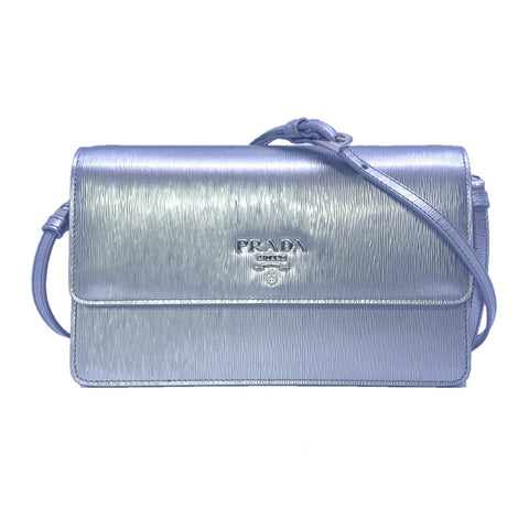 Prada Metallic Silver Vitello Move Leather Crossbody Wallet Handbag 1BP016 at_Queen_Bee_of_Beverly_Hills
