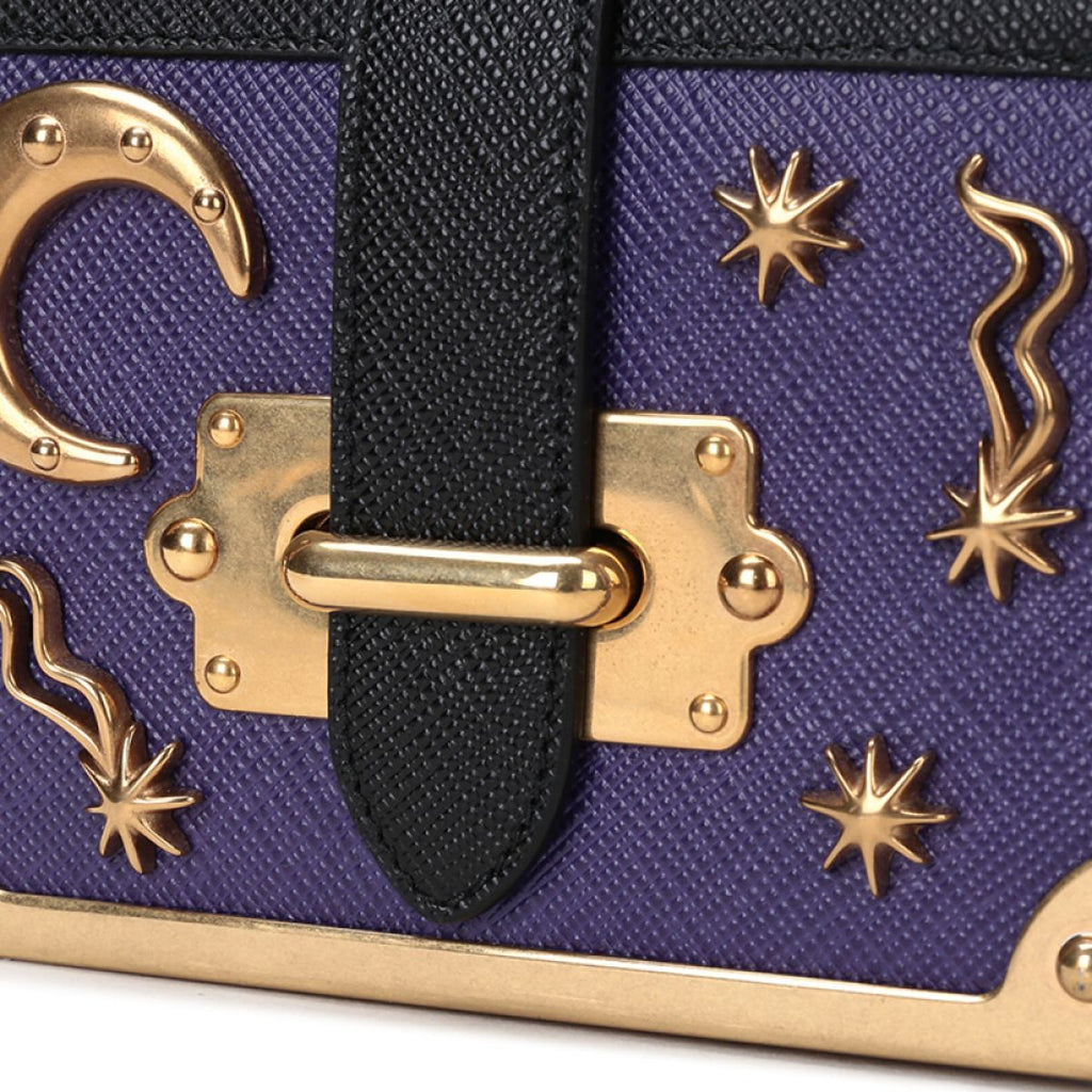 Prada Micro Cahier Purple and Black Celestial Crossbody 1BH058 at_Queen_Bee_of_Beverly_Hills