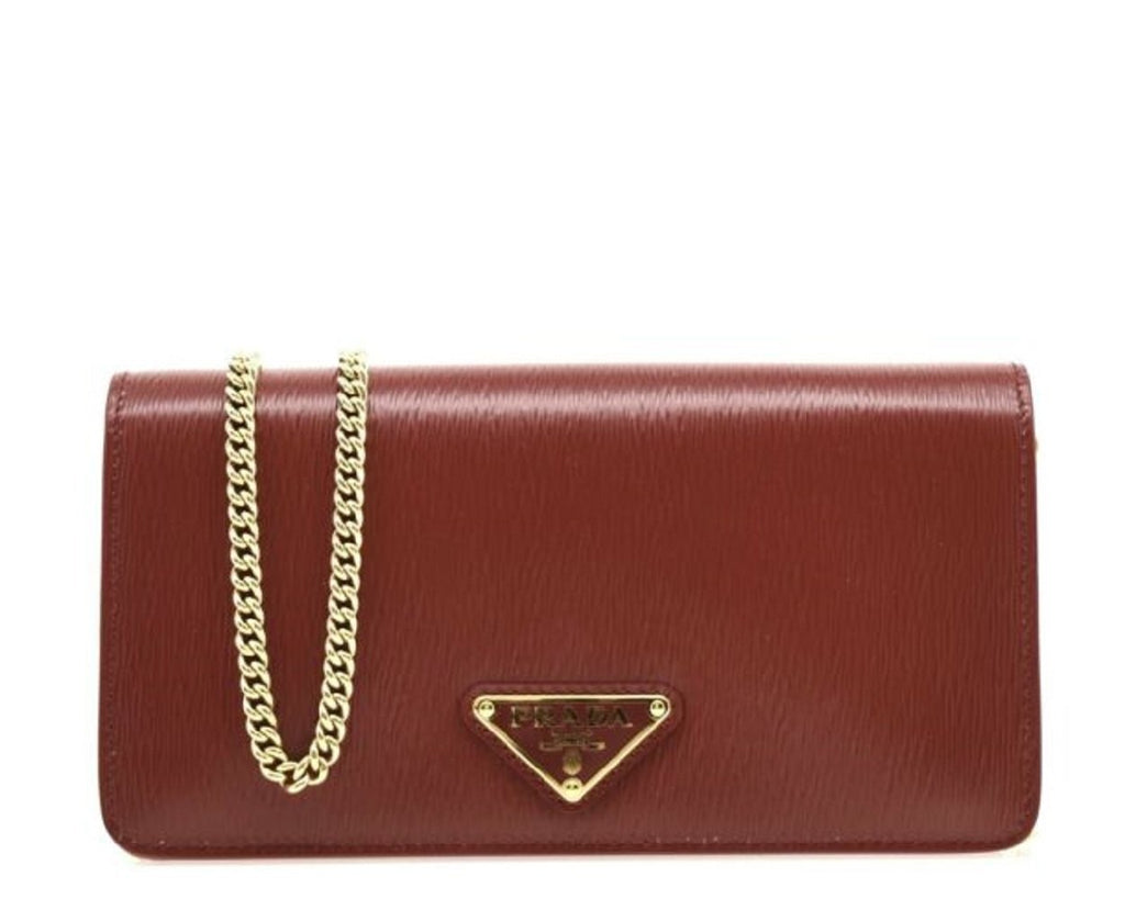 Prada  Mini Bandoliera Red Burgundy Leather Triangle Logo Crossbody Handbag at_Queen_Bee_of_Beverly_Hills