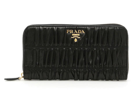 Prada Nappa Gaufre Black Quilted Continental Wallet Leather Gold Hardware 1ML506 at_Queen_Bee_of_Beverly_Hills