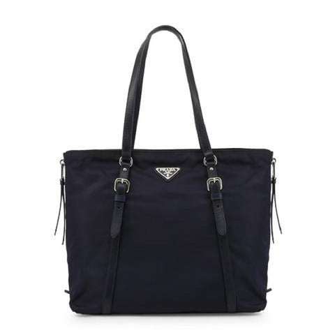 Prada Navy Blue Tessuto Nylon Soft Calf Leather Trim Shopping Tote Handbag 1BG228 at_Queen_Bee_of_Beverly_Hills