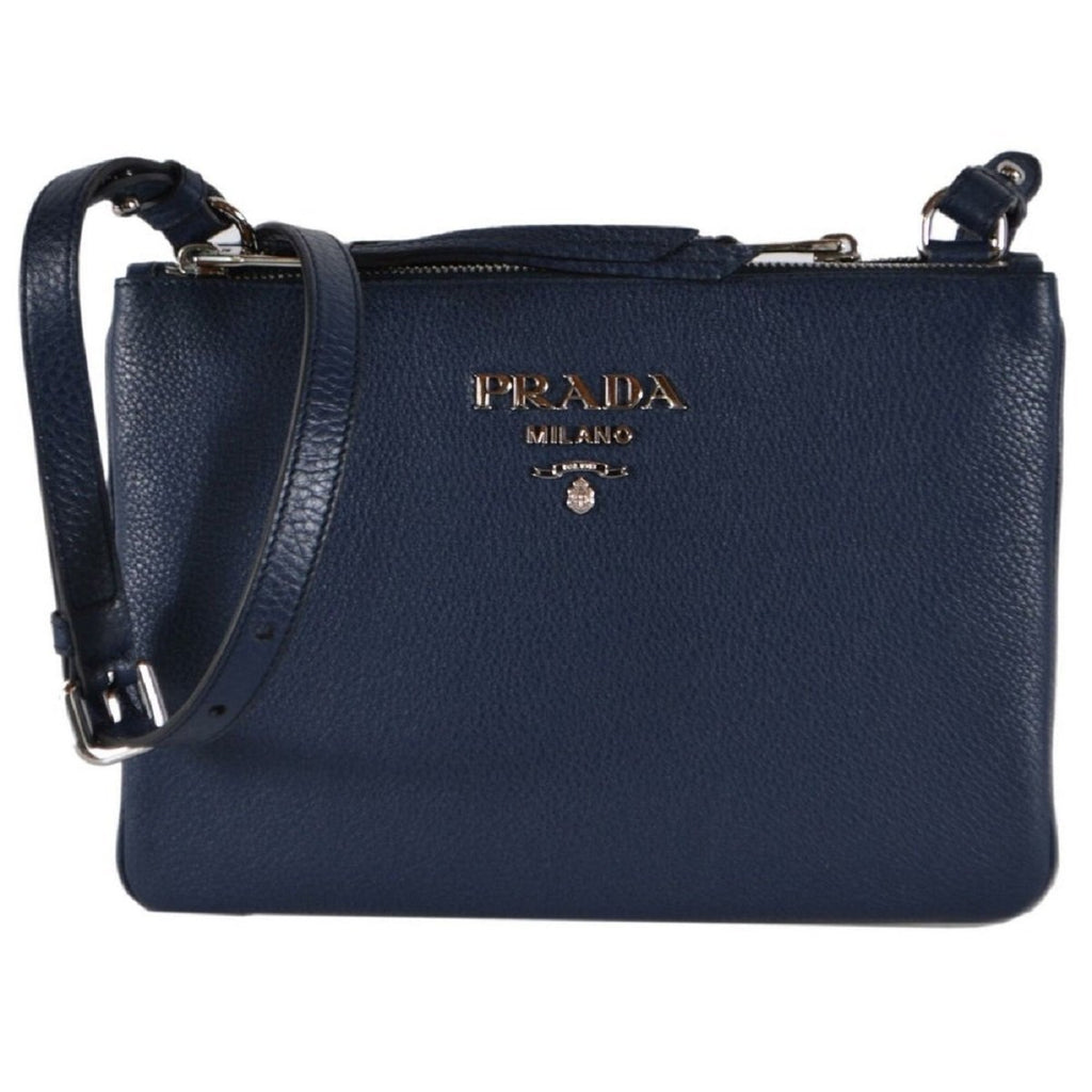 Prada Navy Blue Vitello Phenix Bandoliera Leather Crossbody Handbag 1BH046 at_Queen_Bee_of_Beverly_Hills