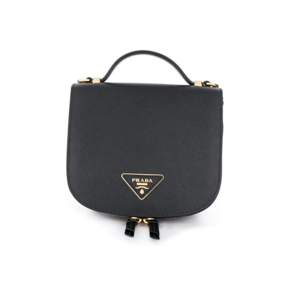 Prada Odette Black Nero Zaineitto Soft Saffiano Calf Leather Mini Backpack Handbag 1BZ046 at_Queen_Bee_of_Beverly_Hills