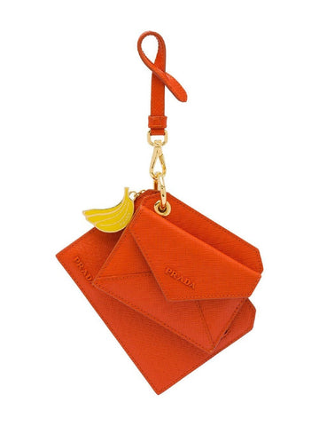 Prada Orange Saffiano Leather Banana Charm Keychain Wallet Card Case 1TL360 at_Queen_Bee_of_Beverly_Hills