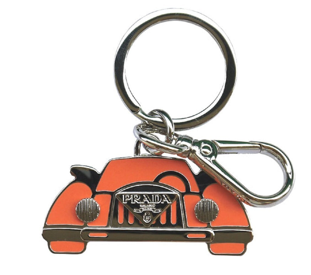 Prada Orange Silver Logo Vintage Car Keychain Charm 1PS530 at_Queen_Bee_of_Beverly_Hills