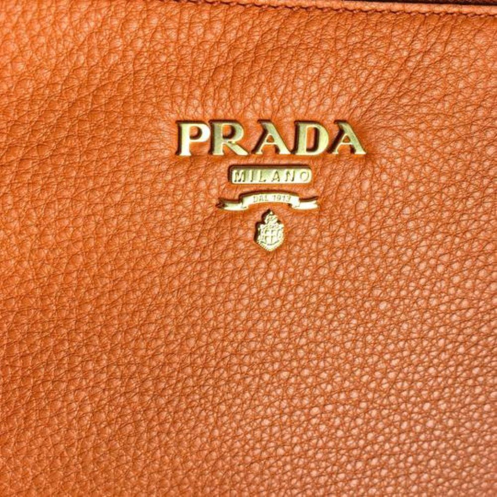 Prada Orange Vitello Phenix Bandoliera Leather Crossbody Handbag 1BH046 at_Queen_Bee_of_Beverly_Hills