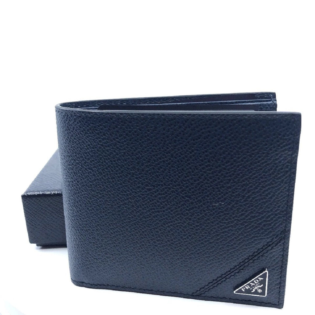 Prada Orizzontale Blue Vitello Micro Grain Leather Iconic Triangle Logo Wallet 2MO513 at_Queen_Bee_of_Beverly_Hills