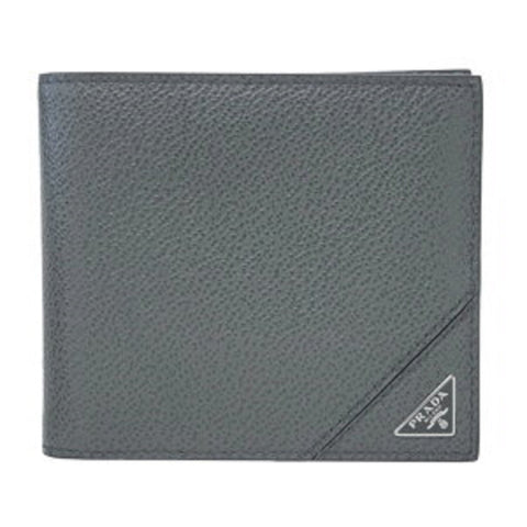 Prada Orizzontale Gray Mercurio Micro Grain Leather Iconic Triangle Logo Wallet 2MO513 at_Queen_Bee_of_Beverly_Hills