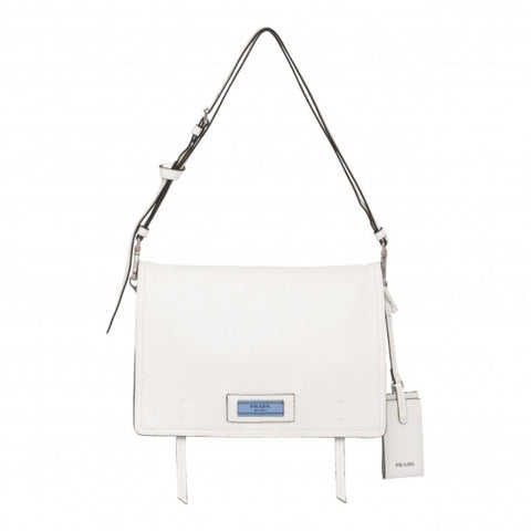 Prada Pattina Bianco White Glace Calf Leather Crossbody Handbag 1BD085 at_Queen_Bee_of_Beverly_Hills
