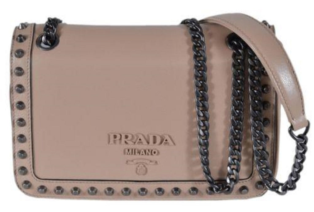 Prada Pattina Glace Calf Leather Cammeo Beige Pattina Studded Bag 1BD147 at_Queen_Bee_of_Beverly_Hills