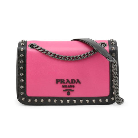 Prada Pattina Pink/ Black Glace Leather Studded Trim Crossbody Handbag 1BD147 at_Queen_Bee_of_Beverly_Hills