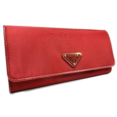 Prada Pattina Saffiano Red Nylon Continental Wallet Women's 1MH132 at_Queen_Bee_of_Beverly_Hills