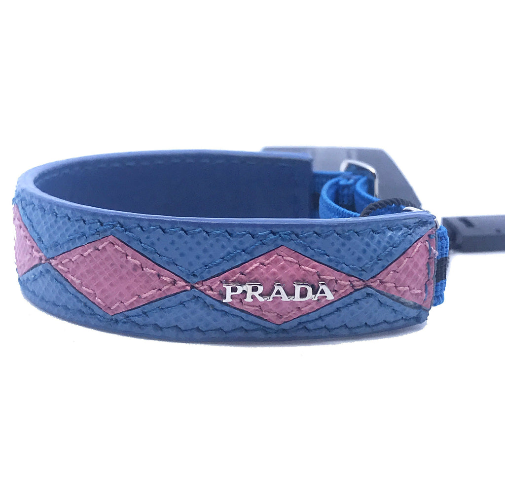Prada Pink Blue Diamonds Leather Bracelet Elastic Argyle 1IB136 at_Queen_Bee_of_Beverly_Hills
