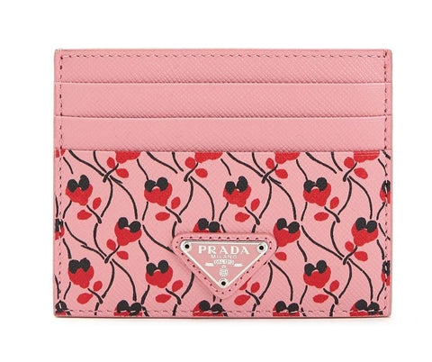 Prada Pink Red Saffiano Card Case Floral Triangle Logo 1MC025 at_Queen_Bee_of_Beverly_Hills