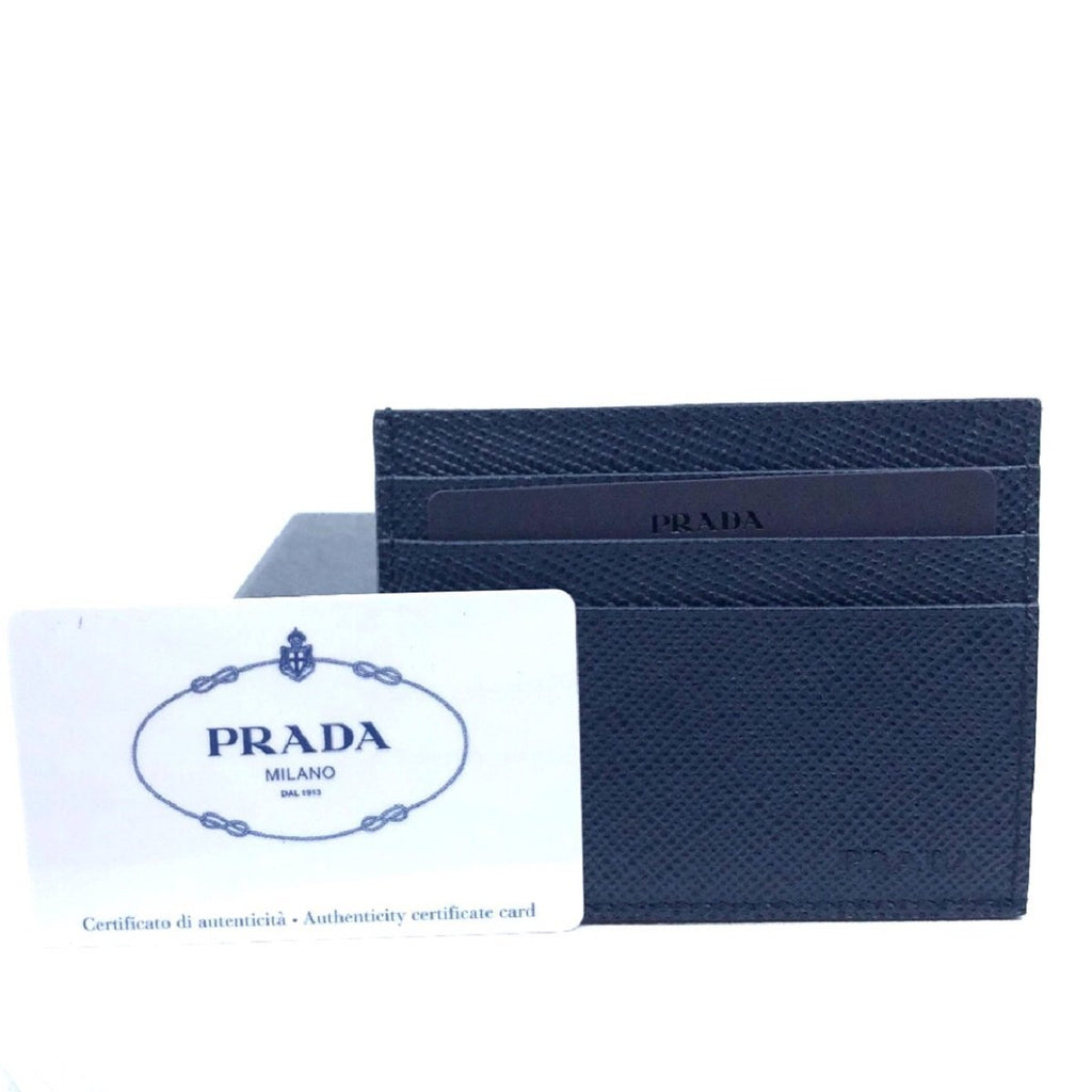 Prada Portacarte Di Cred Saffiano Cuir Blue Leather Card Case 2MC223 at_Queen_Bee_of_Beverly_Hills