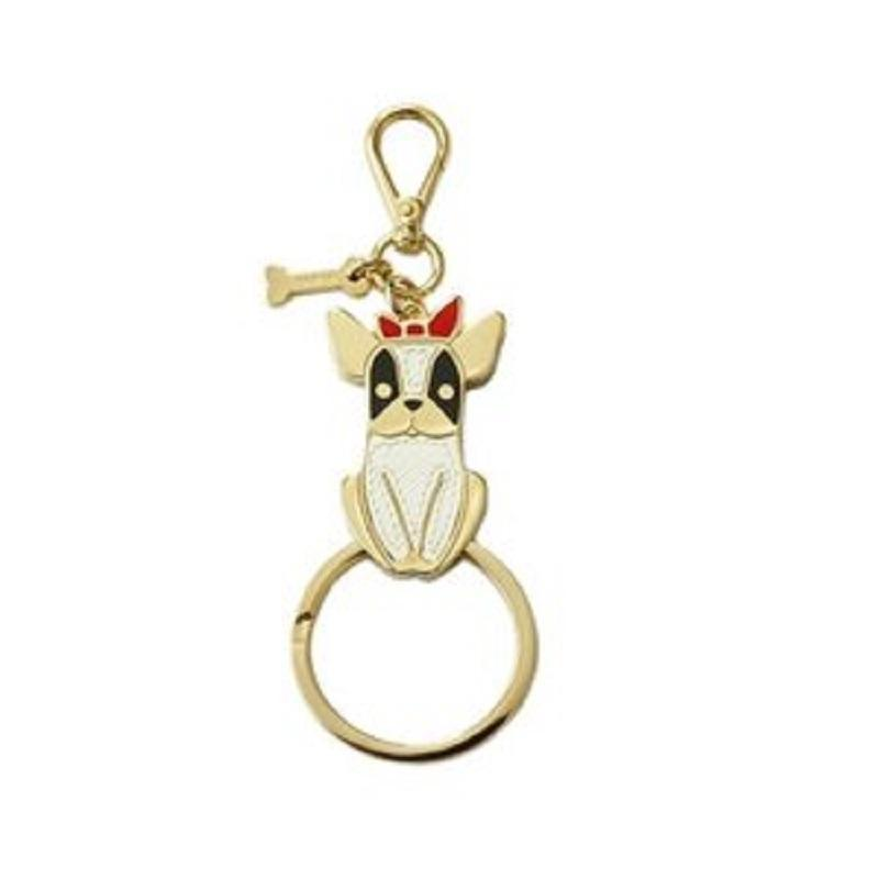 Prada Portachiavi Saffiano Black and White Dog French Bulldog Red Bow Gold Keychain 1PP070 at_Queen_Bee_of_Beverly_Hills