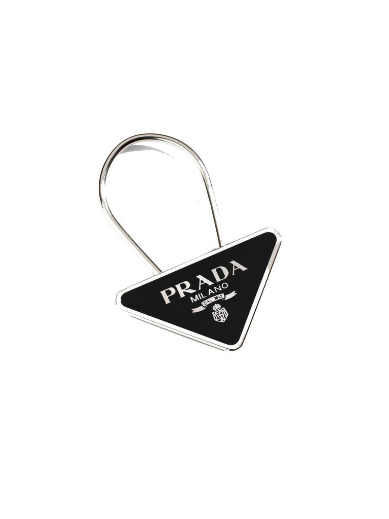 Prada Portachiavi Smalto Black Enameled Metal Triangle Logo Keychain Ring 2PS395 at_Queen_Bee_of_Beverly_Hills