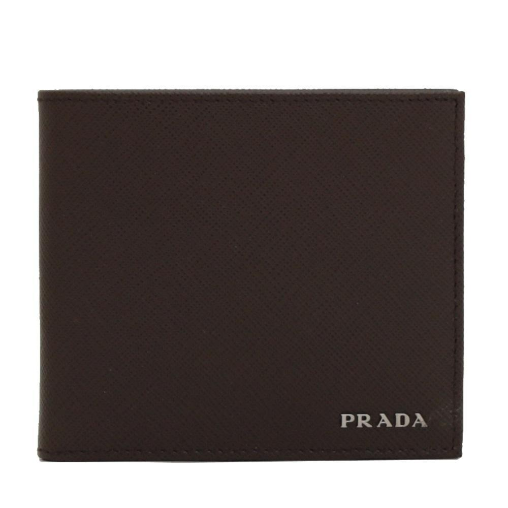 Prada Portaf Orizzontale Saffiano Bifold Leather Brown Black Wallet 2MO513 at_Queen_Bee_of_Beverly_Hills