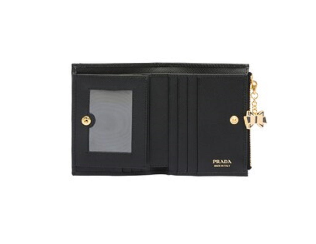 Prada Portafoglio Lampo Black Saffiano Fiocco Black  Bow Charm Wallet 1ML023 at_Queen_Bee_of_Beverly_Hills