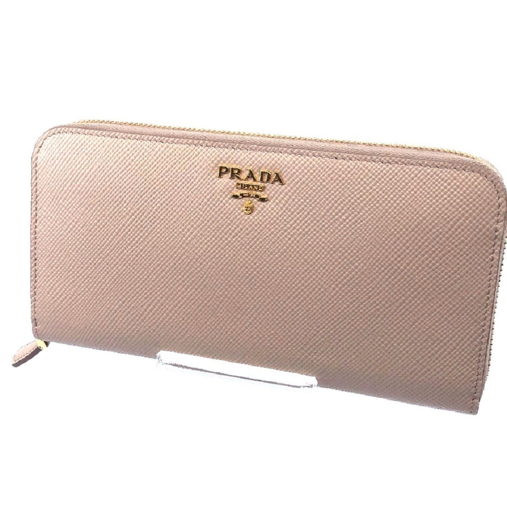 Prada Portafoglio Lampo Cipria Beige Saffiano Cuir Leather Full Zip Wallet 1ML506 at_Queen_Bee_of_Beverly_Hills