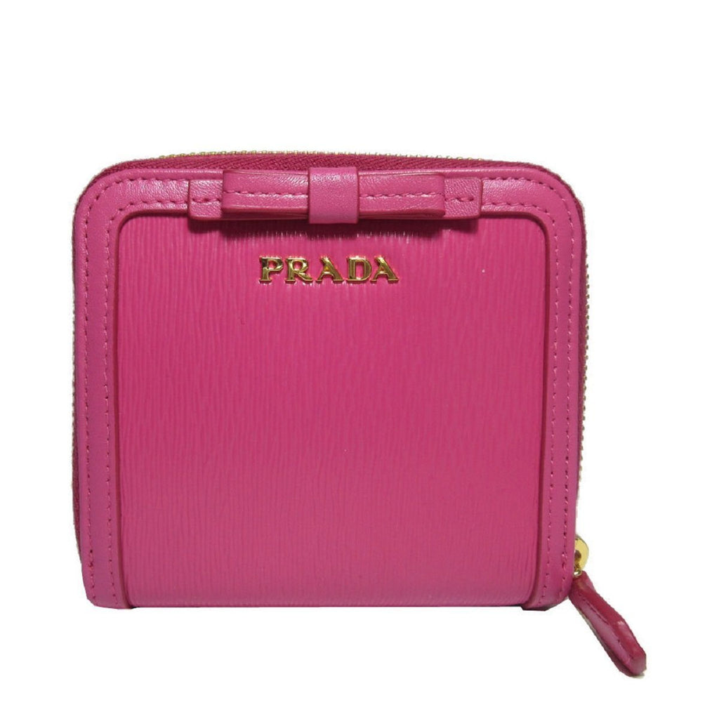 Prada Portafoglio Lampo Fuxia Pink Vitello Move Zip Flap Bow Wallet 1ML522 at_Queen_Bee_of_Beverly_Hills