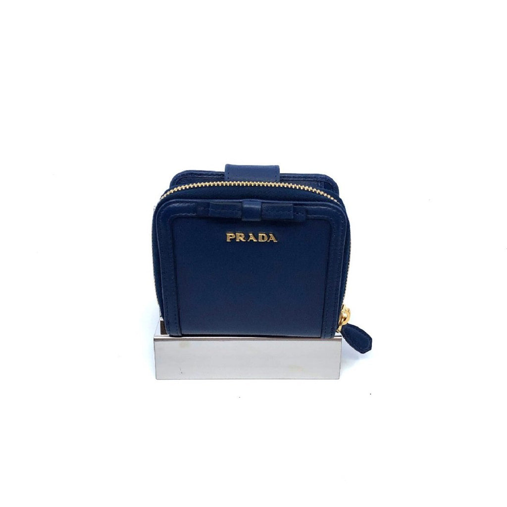 Prada Portafoglio Lampo Navy Blue Vitello Move Zip Flap Bow Wallet 1ML522 at_Queen_Bee_of_Beverly_Hills