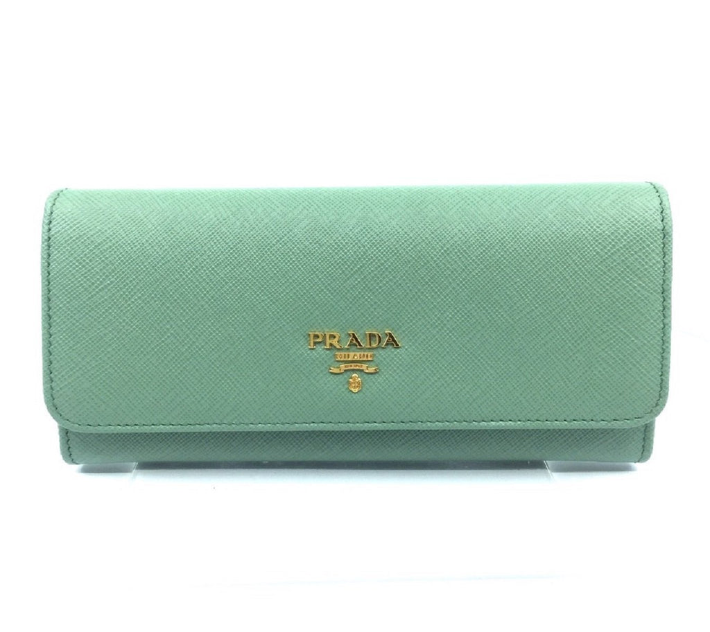 Prada Portafoglio Pattina Acquamarina Saffiano Leather Continental Wallet 1MH132 at_Queen_Bee_of_Beverly_Hills