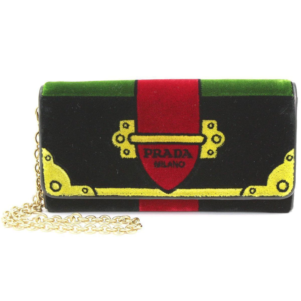 Prada Portafoglio Pattina Cammello Black and Green Velvet Ricamo Wristlet 1MH019 at_Queen_Bee_of_Beverly_Hills