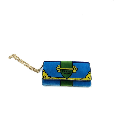 Prada Portafoglio Pattina Cammello Blue and Green Velvet Wristlet 1MH019 at_Queen_Bee_of_Beverly_Hills