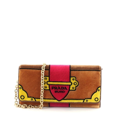 Prada Portafoglio Pattina Cammello Brown and Pink Velvet Ricamo Wristlet 1MH019 at_Queen_Bee_of_Beverly_Hills