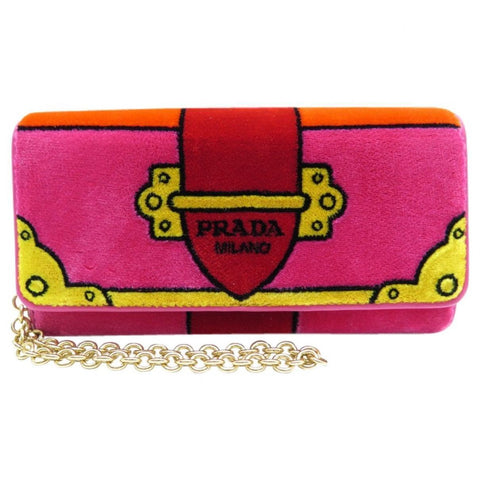 Prada Portafoglio Pattina Cammello Pink Velvet Ricamo Wristlet 1MH019 at_Queen_Bee_of_Beverly_Hills
