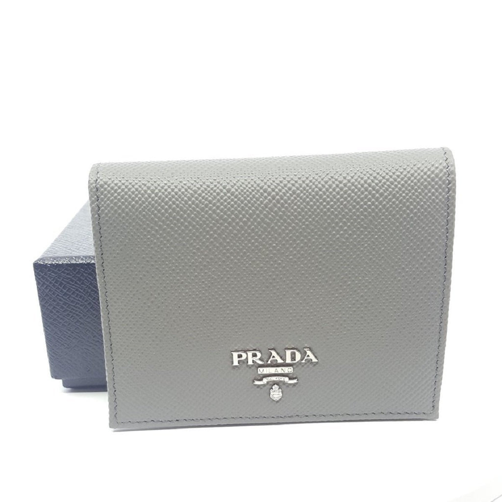 Prada Portafoglio Verticale Marmo Grey Saffiano Cuir Leather Flap Wallet 1MV204 at_Queen_Bee_of_Beverly_Hills