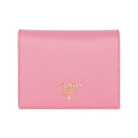 Prada Portafoglio Verticale Pink Geranio Vitello Move Leather Wallet 1MV204 at_Queen_Bee_of_Beverly_Hills