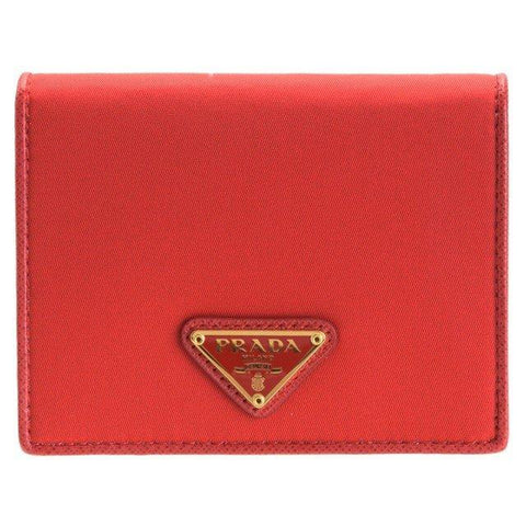 Prada Portafoglio Verticale Rosso Red Tessuto Leather Wallet 1MV204 at_Queen_Bee_of_Beverly_Hills