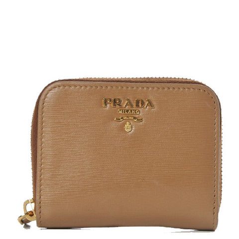 Prada Portamonete Vitello Move Caramel Beige Leather Zip Around Wallet 1MM268 at_Queen_Bee_of_Beverly_Hills