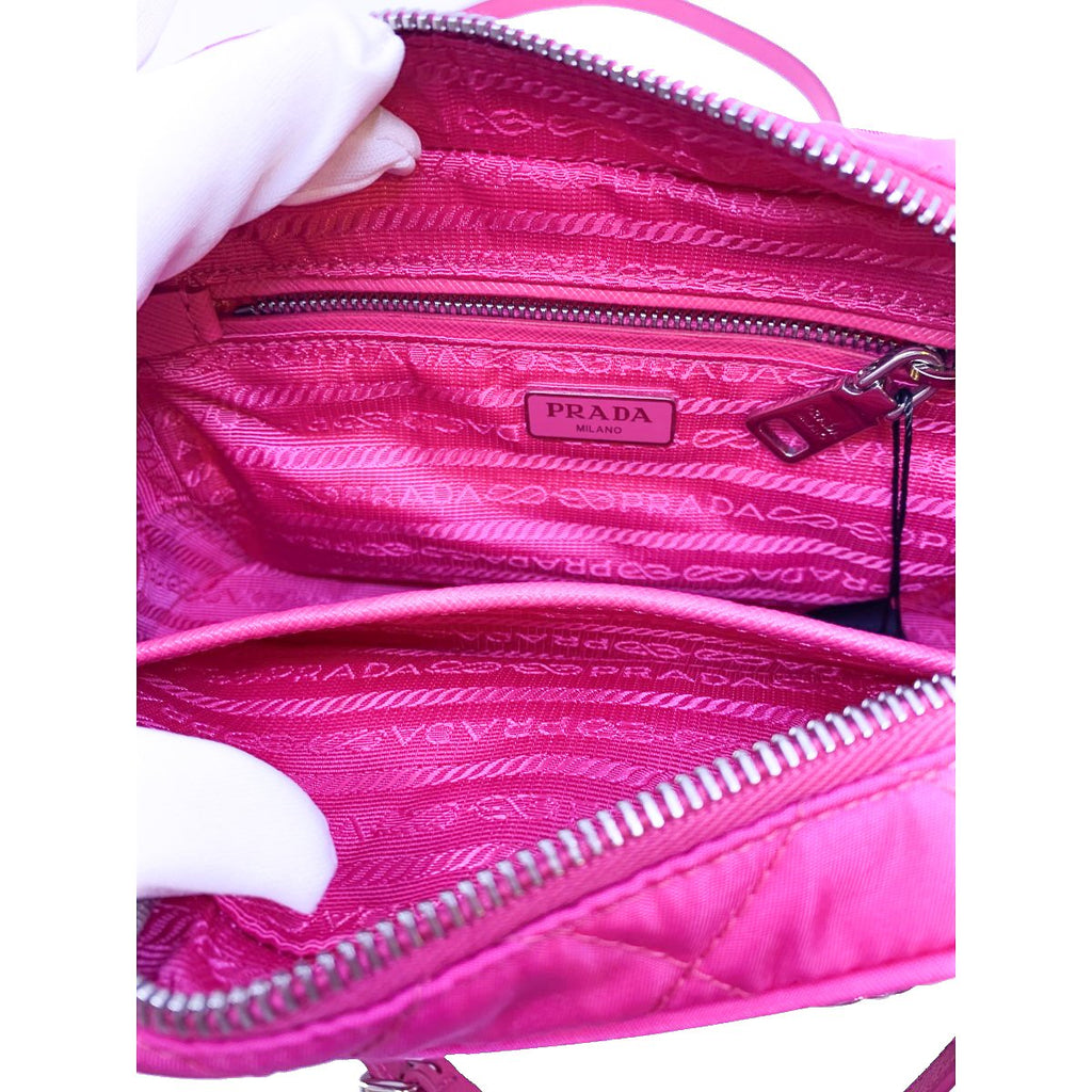 Prada Quilted Tessuto Nylon Fuxia Pink Bandoliera Triangle Logo Bag 1BH910 at_Queen_Bee_of_Beverly_Hills