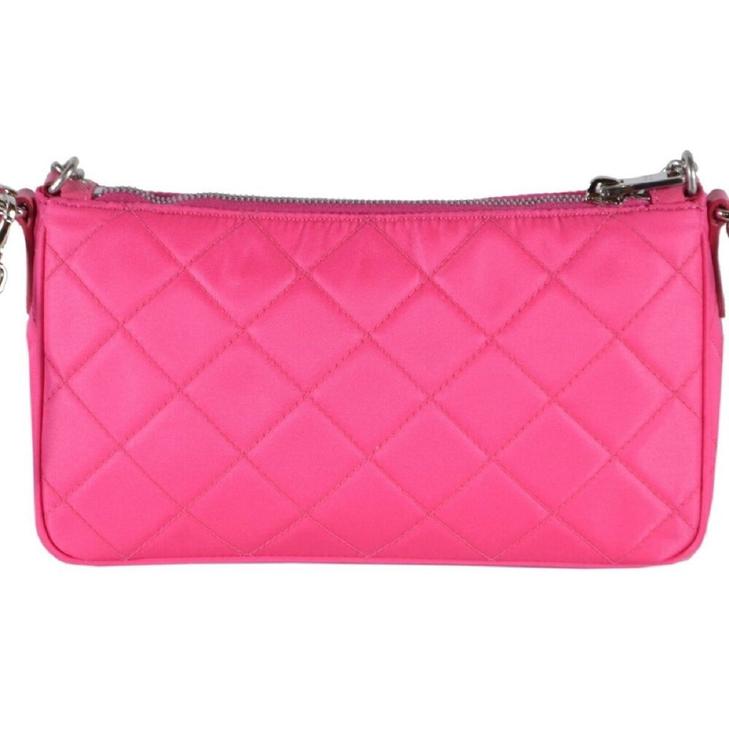 Prada Quilted Tessuto Nylon Fuxia Pink Crossbody Triangle Logo 1BH026 at_Queen_Bee_of_Beverly_Hills