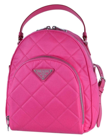 Prada Quilted Tessuto Nylon Fuxia Pink Zaino Backpack 1BZ066 at_Queen_Bee_of_Beverly_Hills