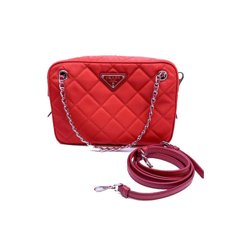 Prada Quilted Tessuto Nylon Fuxia Red Bandoliera Triangle Logo Bag 1BH910 at_Queen_Bee_of_Beverly_Hills
