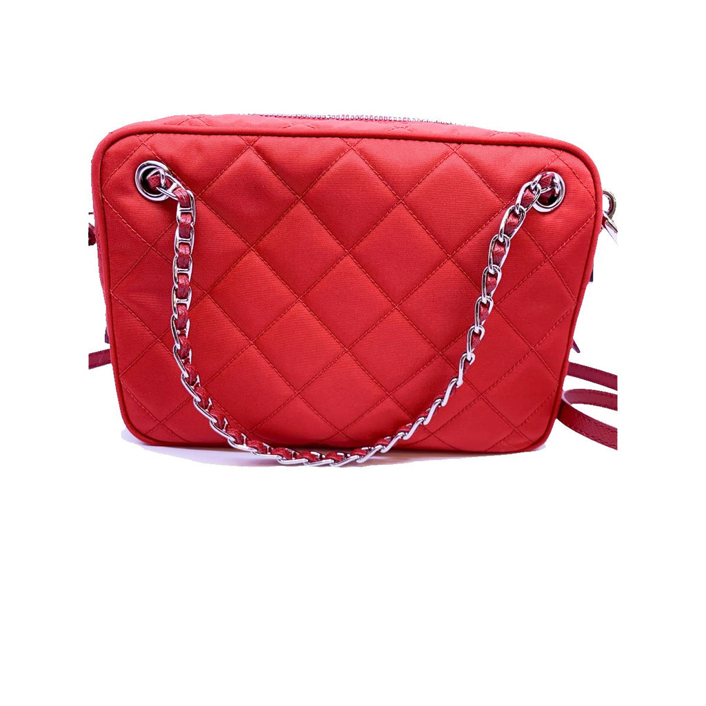 Prada Quilted Tessuto Nylon Red Bandoliera Triangle Logo Bag 1BH910 at_Queen_Bee_of_Beverly_Hills