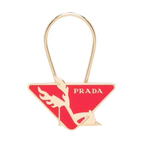 Prada Red Enamel Plex High Heel Shoe Brass Steel Key Ring Logo Charm 1PS041 at_Queen_Bee_of_Beverly_Hills